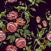 Roses embroidery seamless pattern. Fashionable template for design of clothes, t-shirt design, tapestry flowers renaissance style vector. Classical embroidery vintage buds of roses on black background