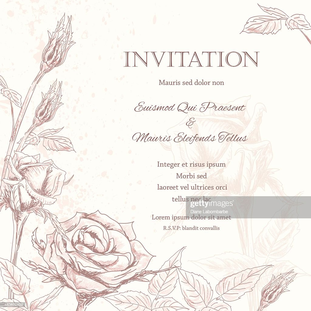 Background For Wedding Invitation: Roses Floral Wedding Invitation Background Vector Art