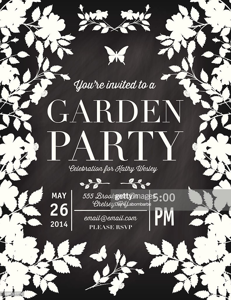 Roses Garden Party Chalkboard Invitation Template