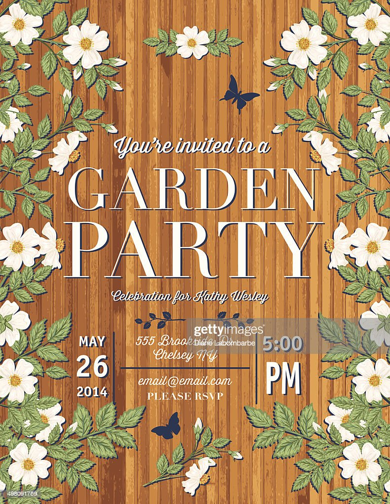 Roses Garden Party Invitation Template Vector Art | Getty Images