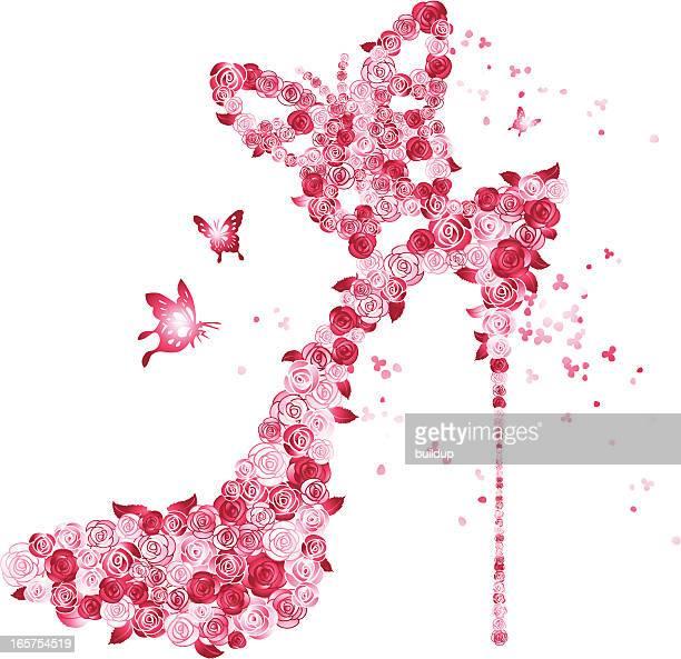 ilustraciones, imágenes clip art, dibujos animados e iconos de stock de rosas el tacón - tacones altos