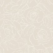 Roses lines vector seamless pattern