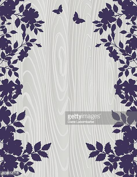 ilustraciones, imágenes clip art, dibujos animados e iconos de stock de roses silhouettes on a wood background - azul marino