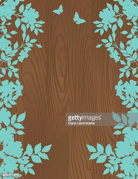 Roses Silhouettes On A Wood Background