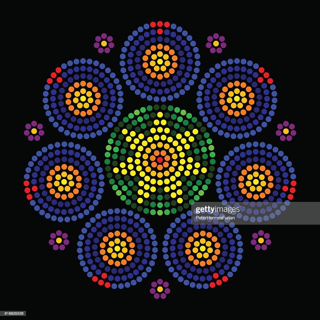 Rosette window leadlight radial dot patterns