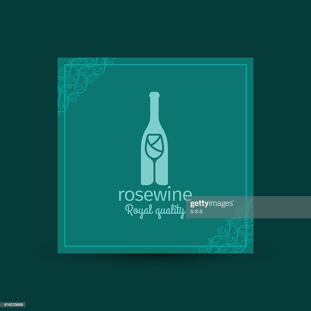 Rosewine royal quality square card : Vectorkunst
