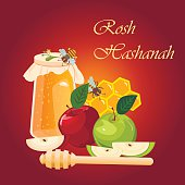 Rosh Hashana jewish new year greeting card.