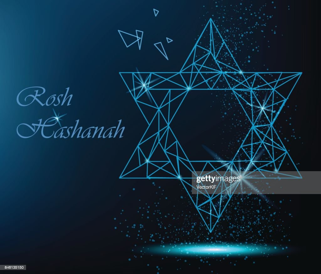 Rosh hashanah greeting card with yellow polygonal star of david and rosh hashanah greeting card with yellow polygonal star of david and golden dots vector bright m4hsunfo