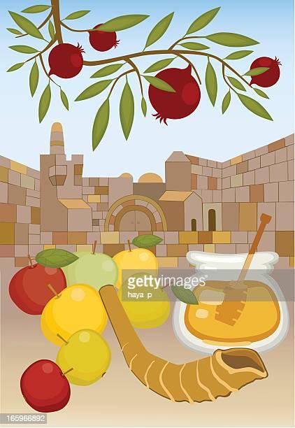 rosh hashanah in jerusalem - wailing wall stock illustrations, clip art, cartoons, & icons