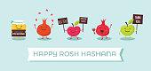 Rosh Hashanah Jewish holiday banner design with funny cartoon characters representing symbols of the holiday. Vector illustration