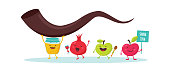 Rosh Hashanah Jewish holiday banner design with honey jar, apple and pomegranate funny cartoon characters holding shofar , Jewish horn. Vector illustration