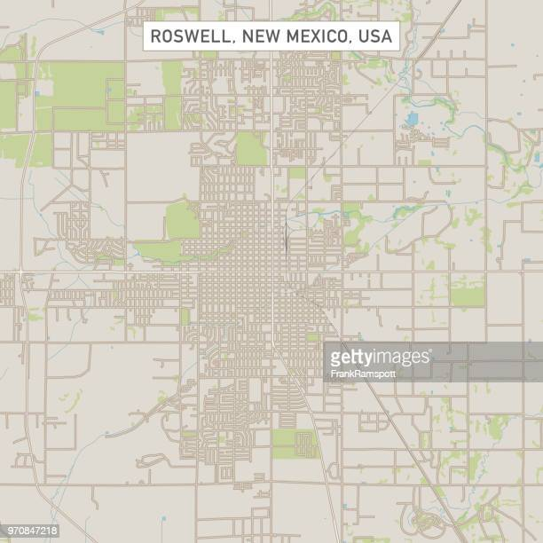 roswell new mexico us city street map - new mexico stock illustrations