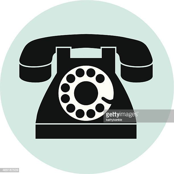 rotary dial telephone on blue circle