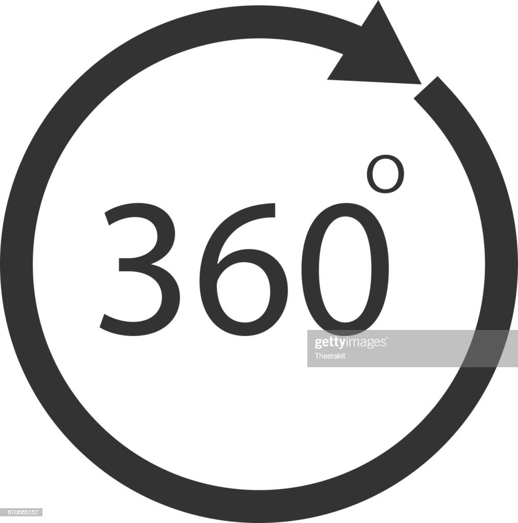 Rotate 360 Degrees Icon On White Background Rotate 360 Degrees Sign