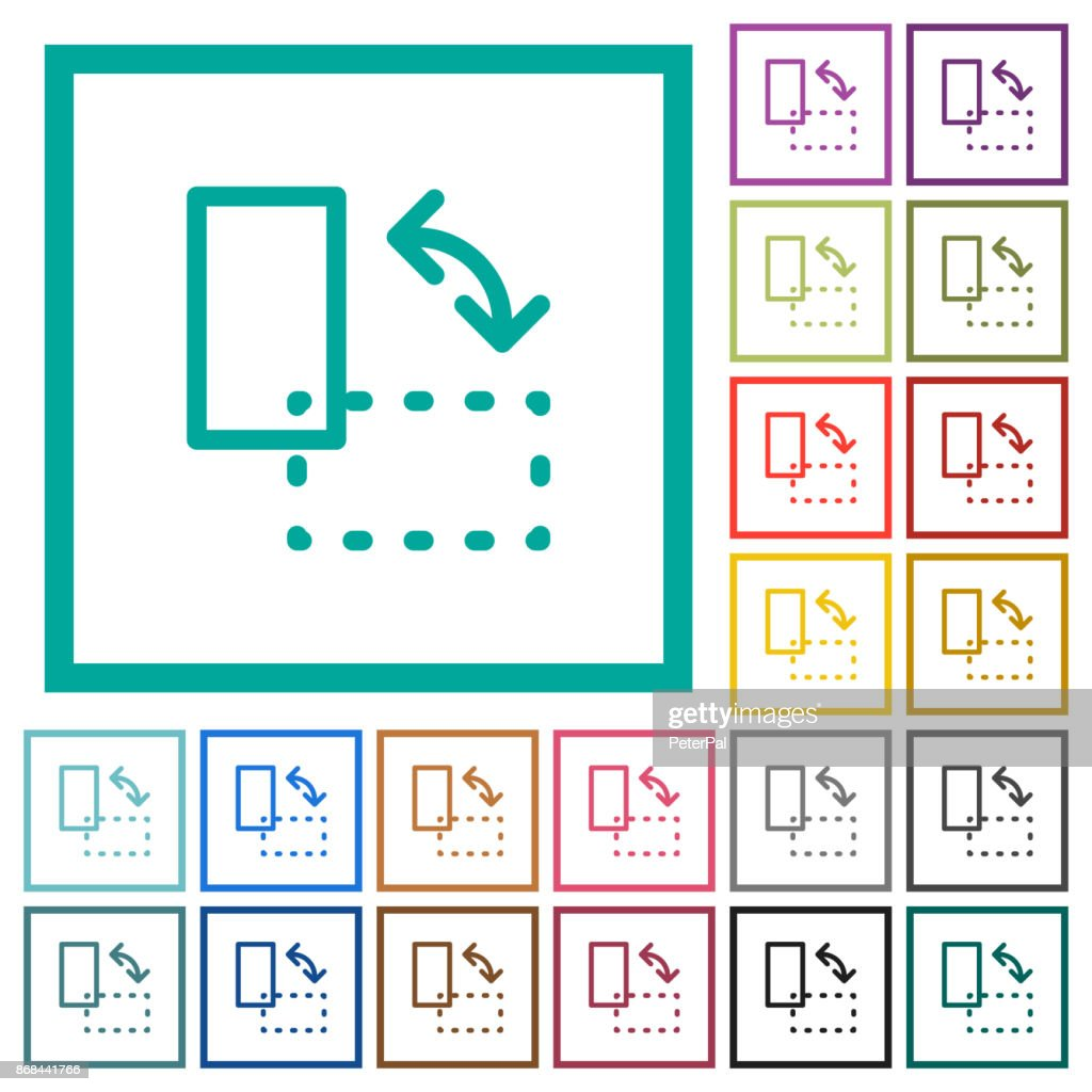 Rotate element flat color icons with quadrant frames