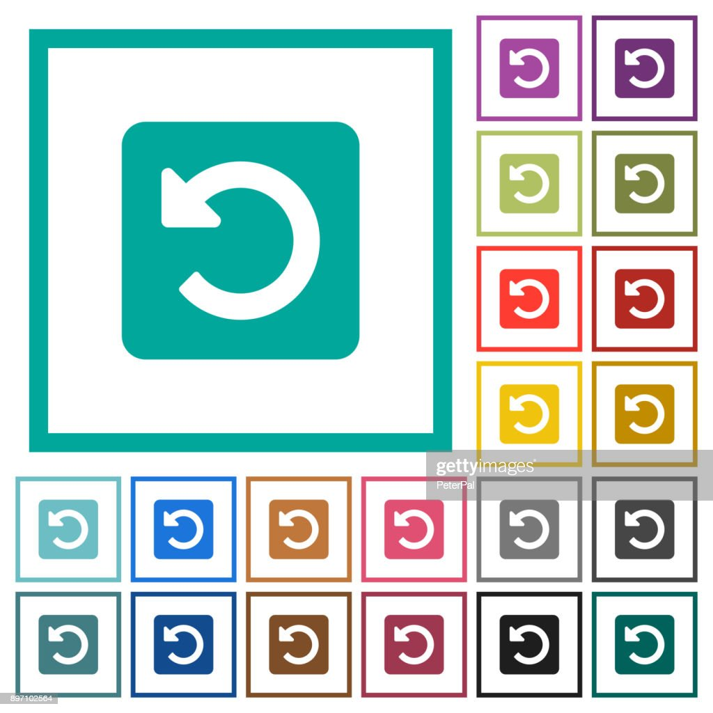Rotate left flat color icons with quadrant frames