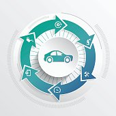 Rotating arrow car service concept