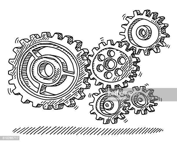 Engrenages tournant en Machine dessin