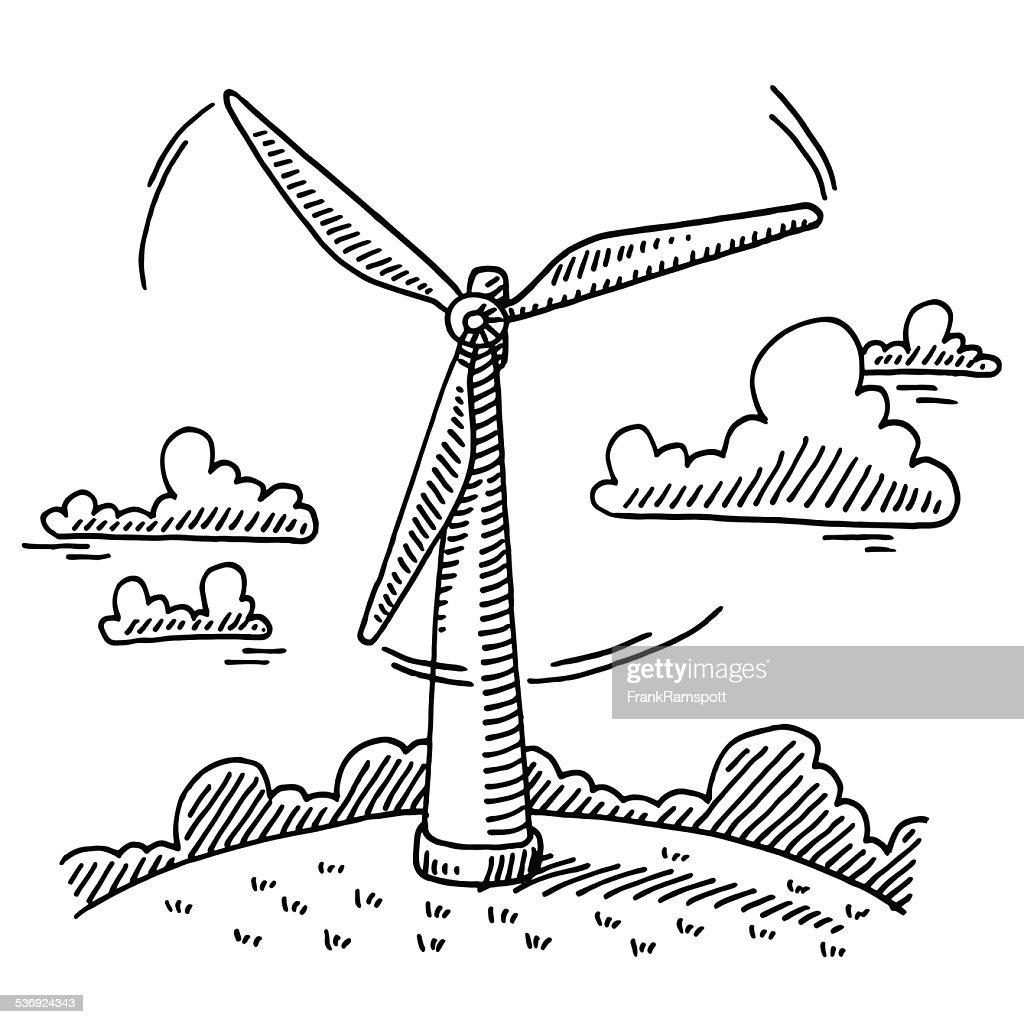 rotating wind turbine drawing vector art