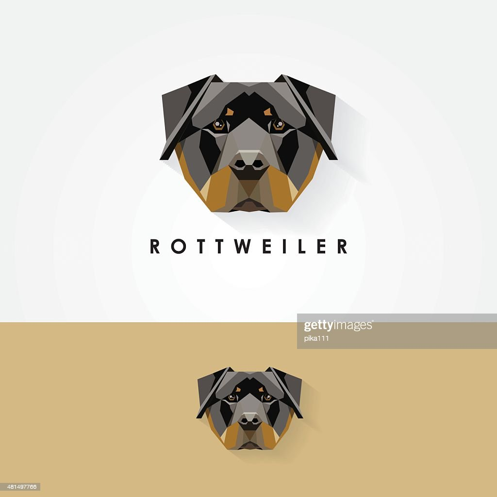 rottweiler dog head geometric polygonal logo icon