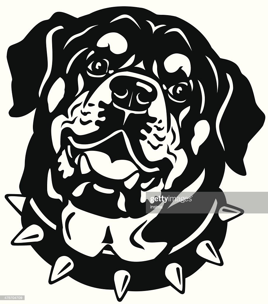 rottweiler head black and white