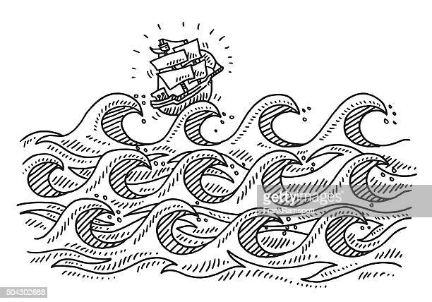 Rough Sea Waves Cartoon Sailing Ship Drawing