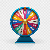 Roulette 3d fortune wheel isolated vector illustration for gambling background and lottery win concept