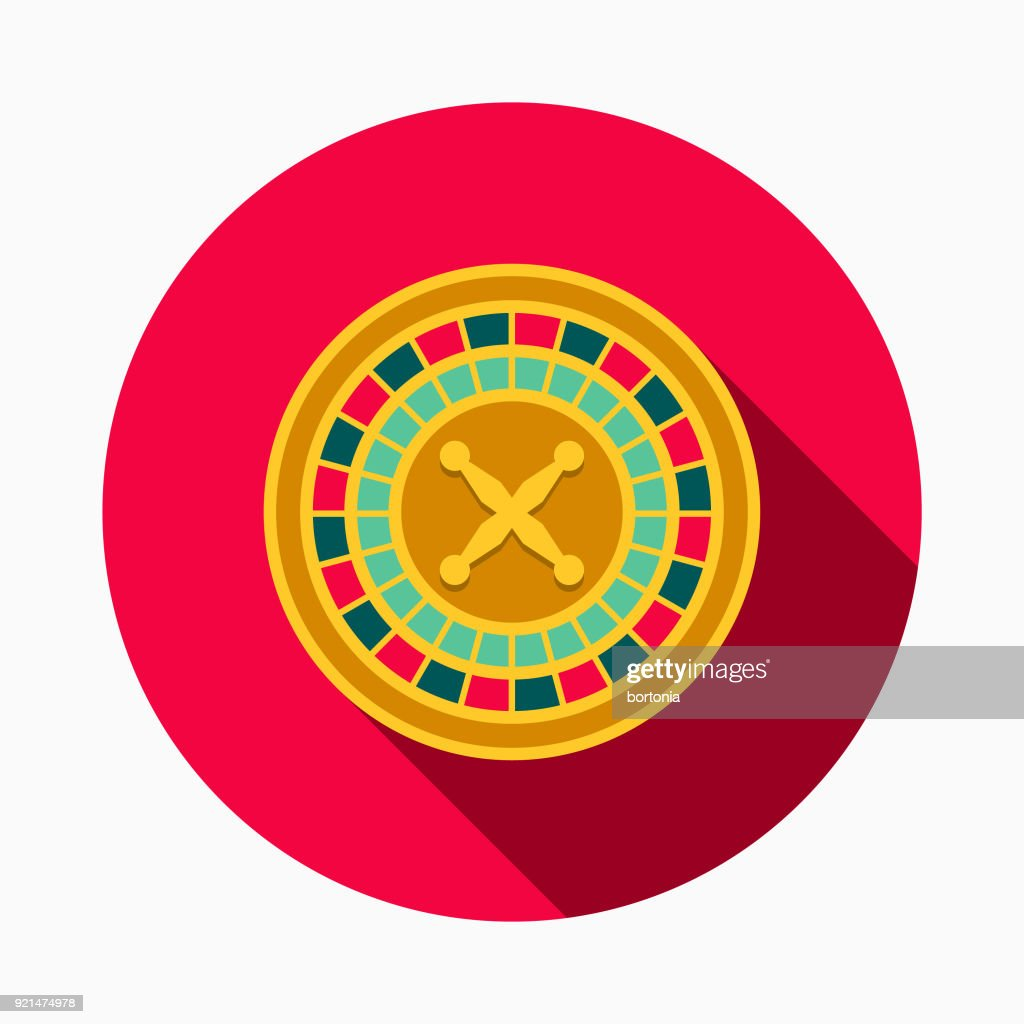 Roulette Flat Design Casino Icon with Side Shadow