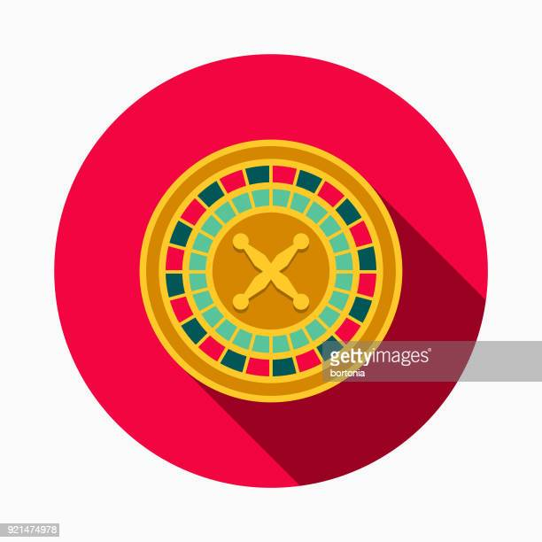 roulette flat design casino icon with side shadow - roulette stock illustrations