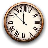 Round 2018 New Year clock.