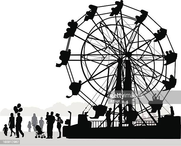 round about vector silhouette - carnival ride stock illustrations, clip art, cartoons, & icons