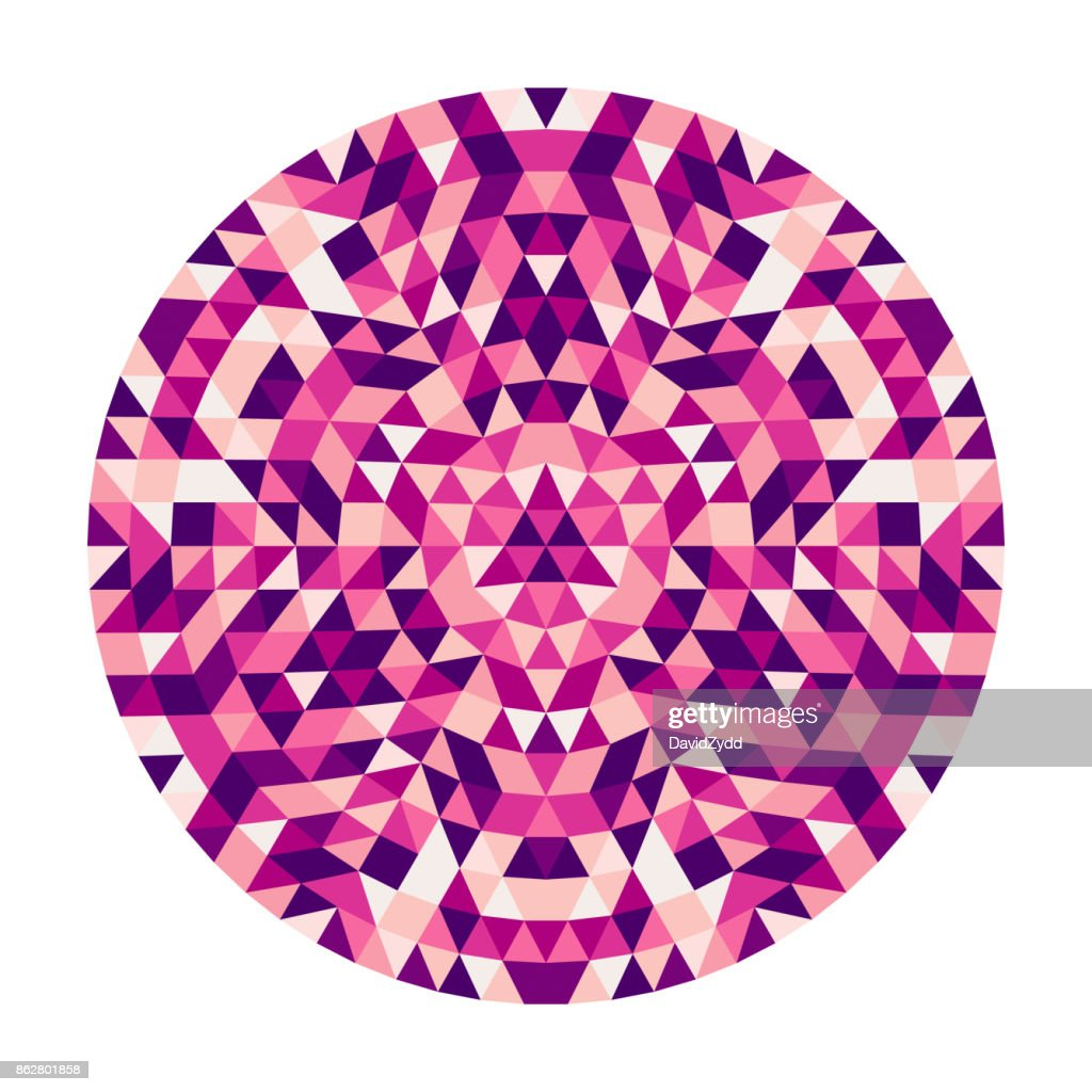 Round abstract geometric triangle kaleidoscopic mandala design - symmetric vector pattern art from colored triangles