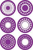 Round Abstract Kaleidoscope-inspired patterns Vector illustratio