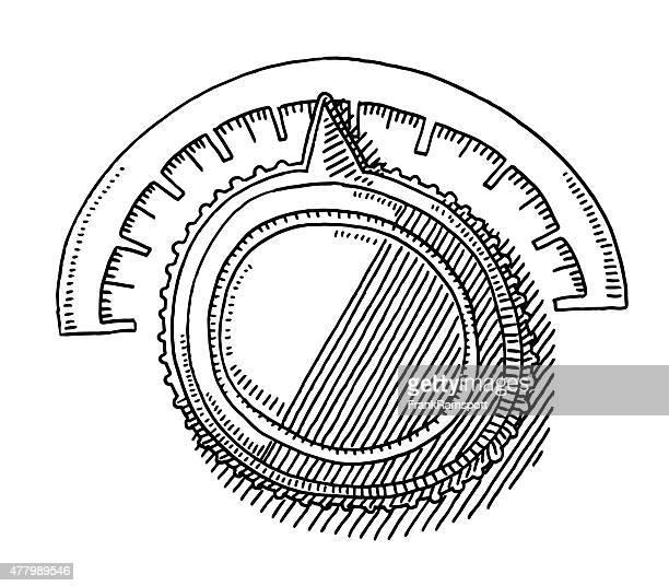 round adjustment knob drawing - volume knob stock illustrations, clip art, cartoons, & icons