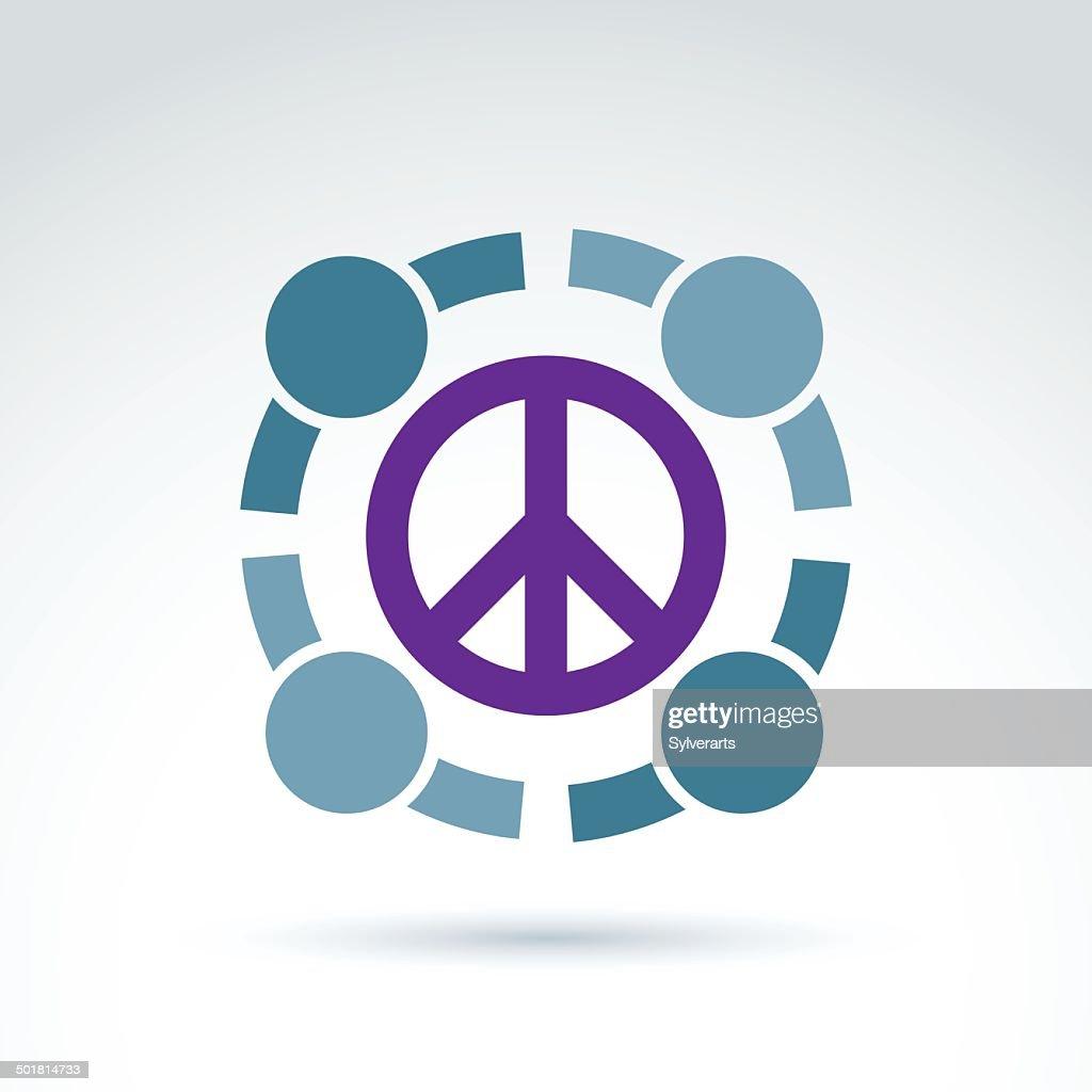 Round antiwar vector icon, no war symbol.
