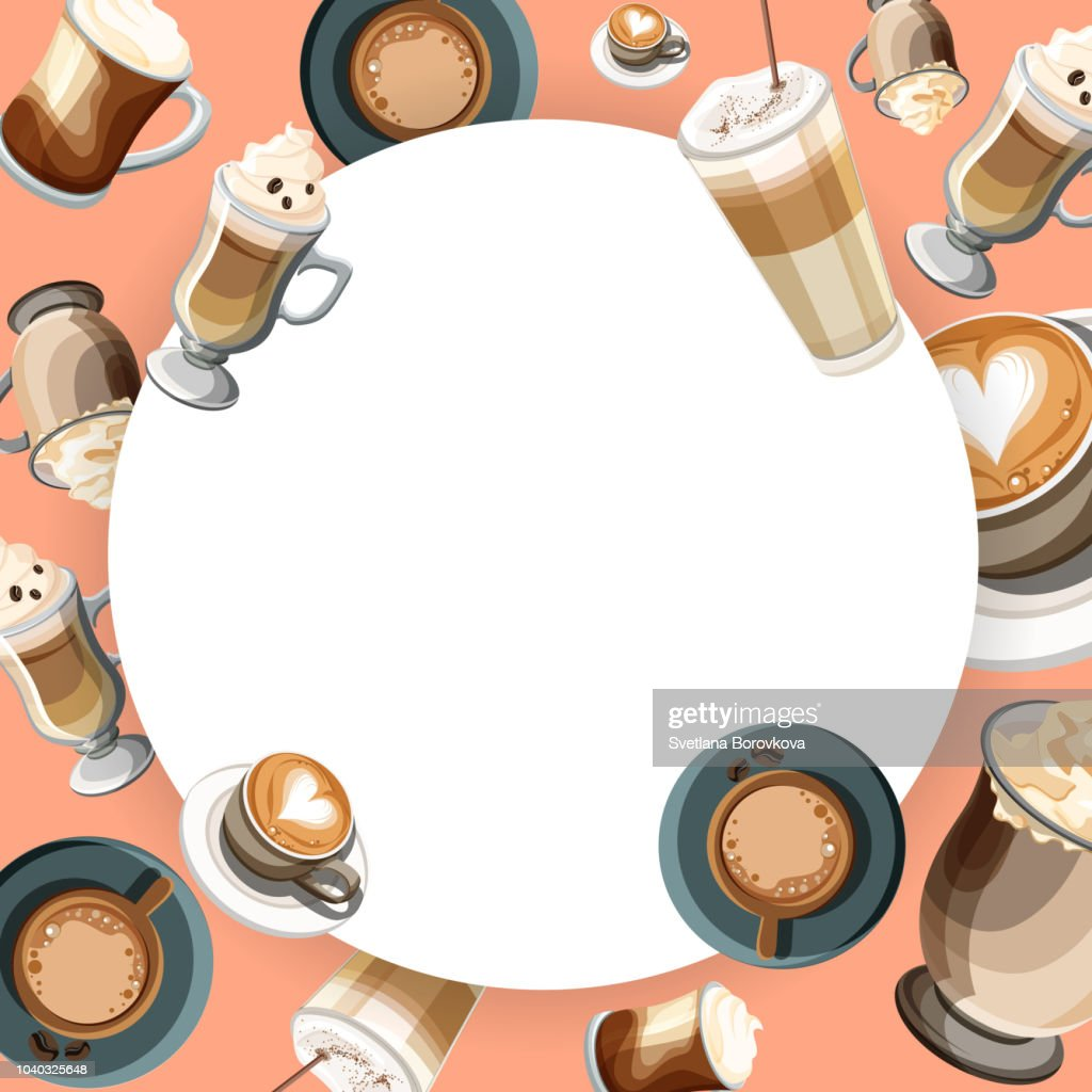 Round background with cups of coffee.