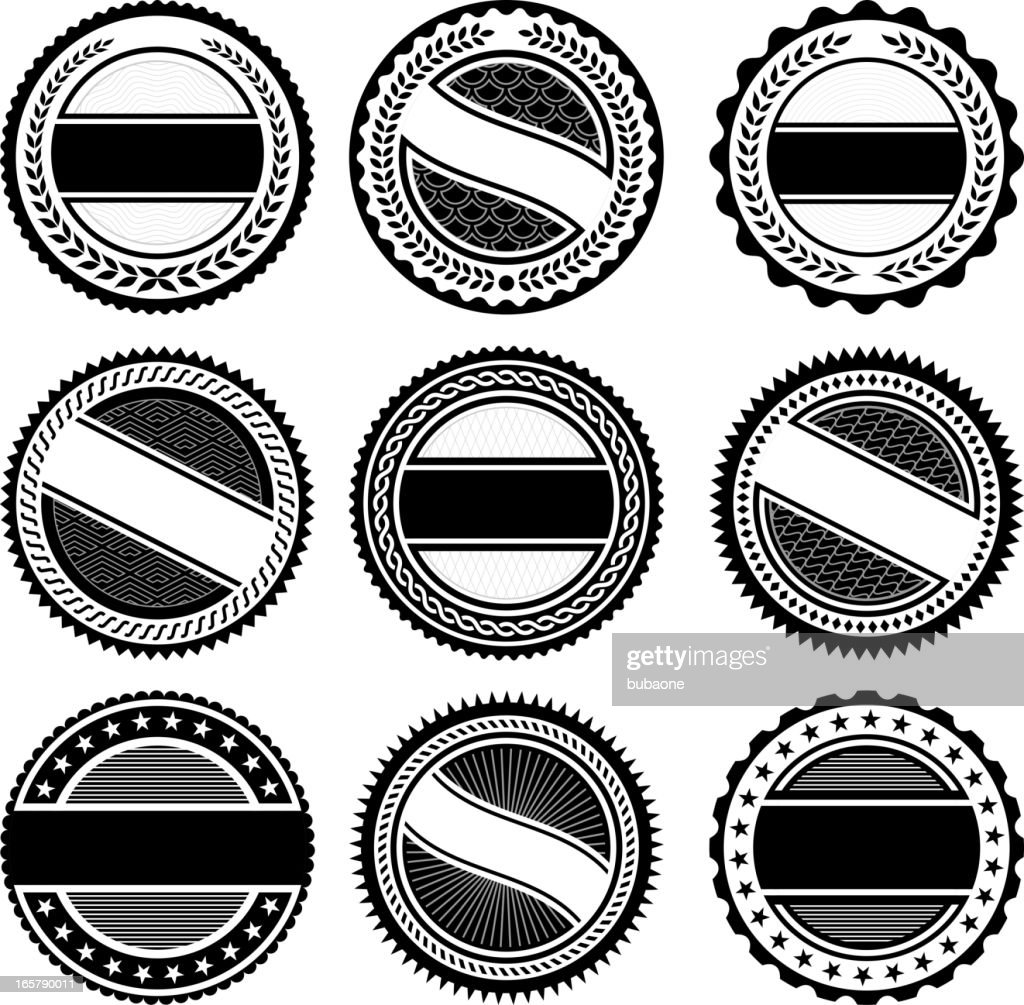 Round Badges black and white royalty free vector icon set : stock illustration