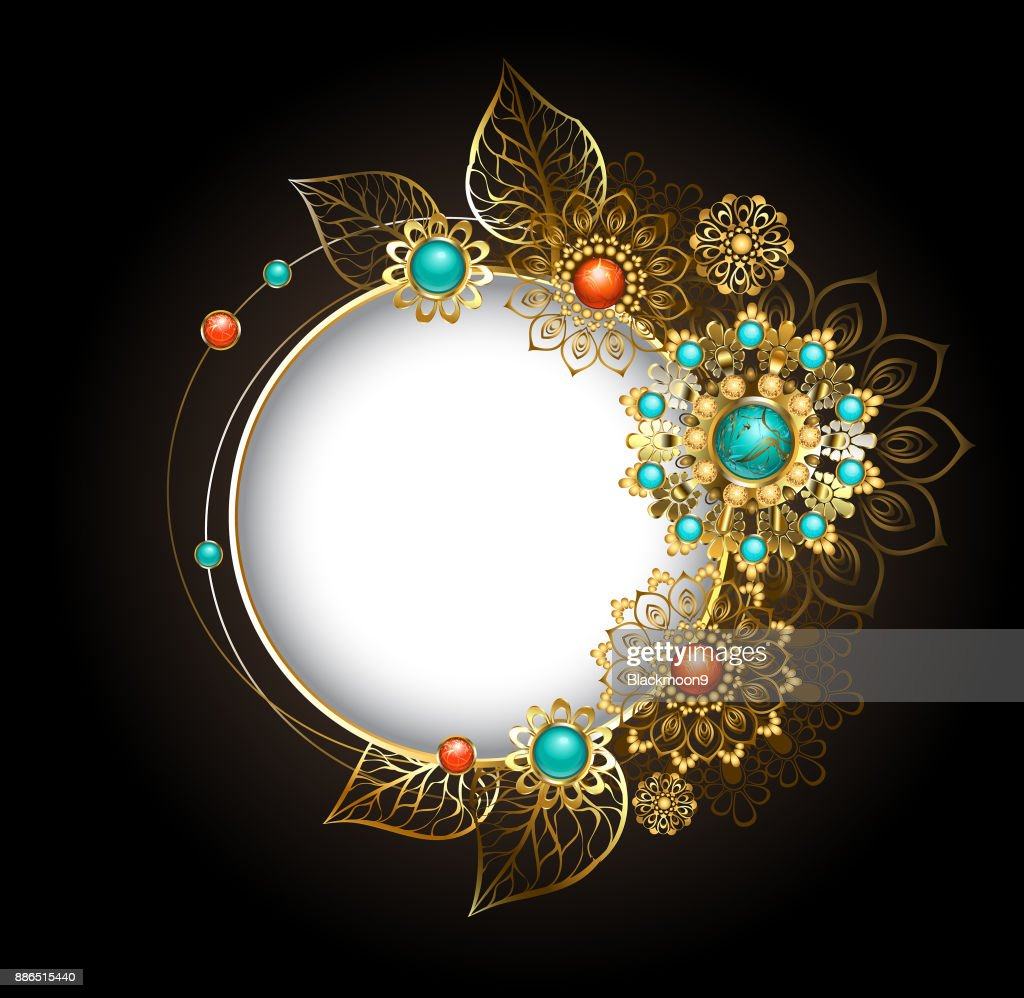 Round banner with gold ornaments ethnic