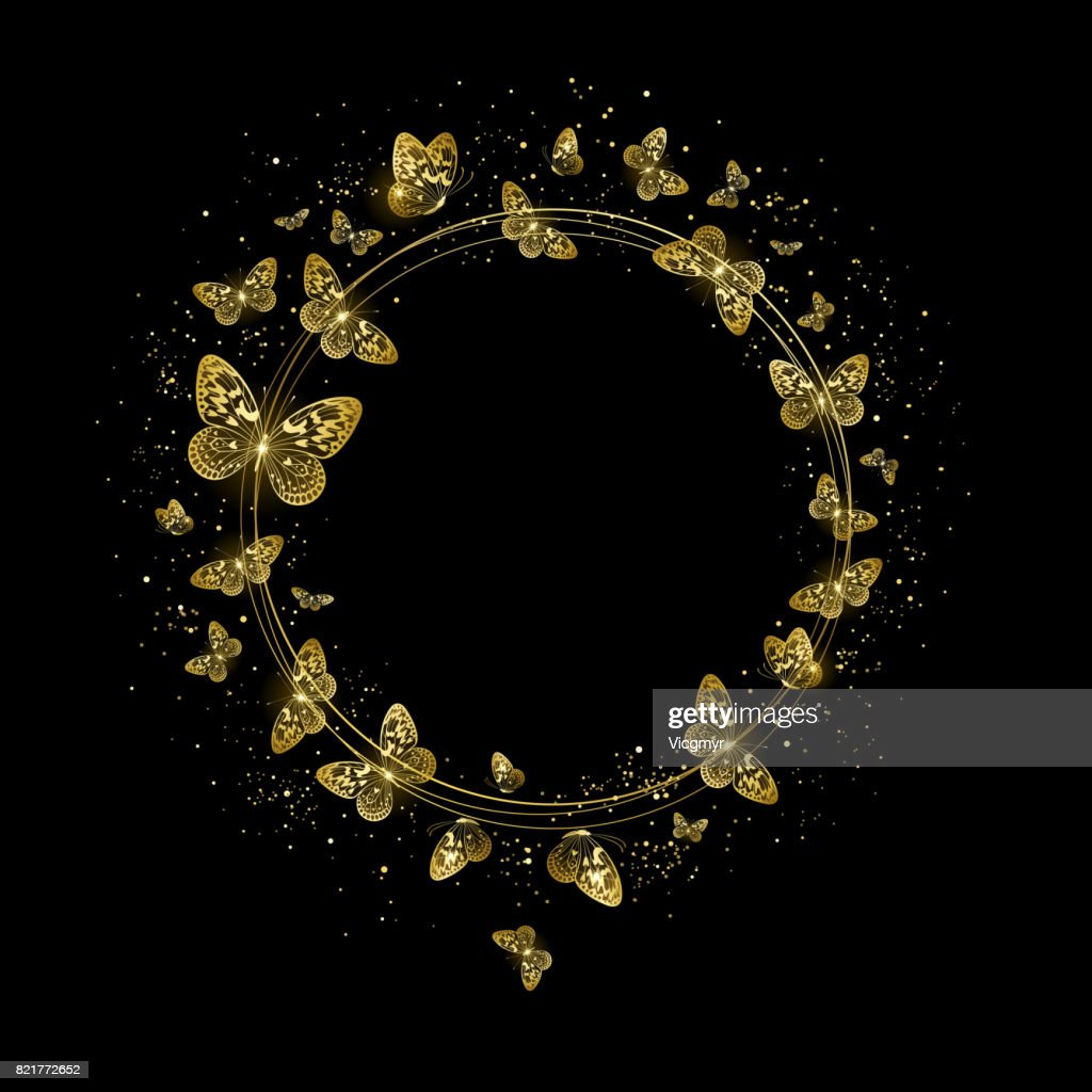 Round Banner with Golden Butterflies