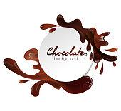 Round banner with liquid milk chocolate splashes