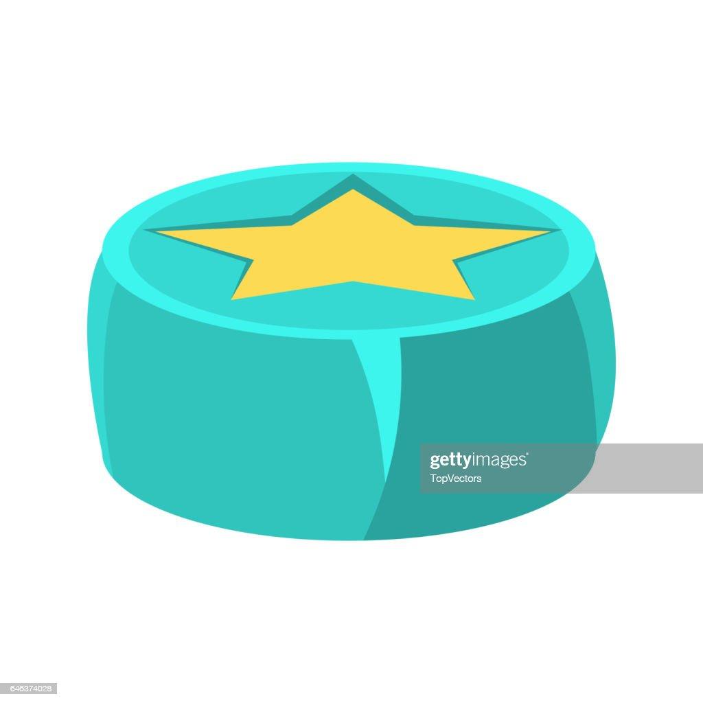 Leuke Zitzak Stoel.Ronde Zitzak Stoel In Blauwe Kleur Met Gele Ster Object Van De
