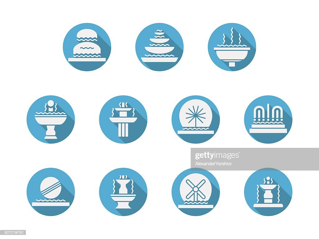 Round blue flat vector icons for fountains