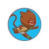 Round blue frame, cute cat playing rugby