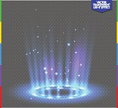 Round blue glow rays night scene with sparks on transparent background. Empty light effect podium. Disco club dance floor. Show party. Beam stage. Magic fantasy portal. Futuristic teleport