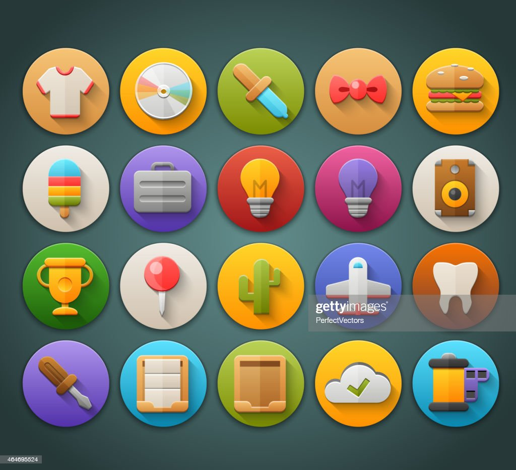 Round Bright Icons with Long Shadow Set 13