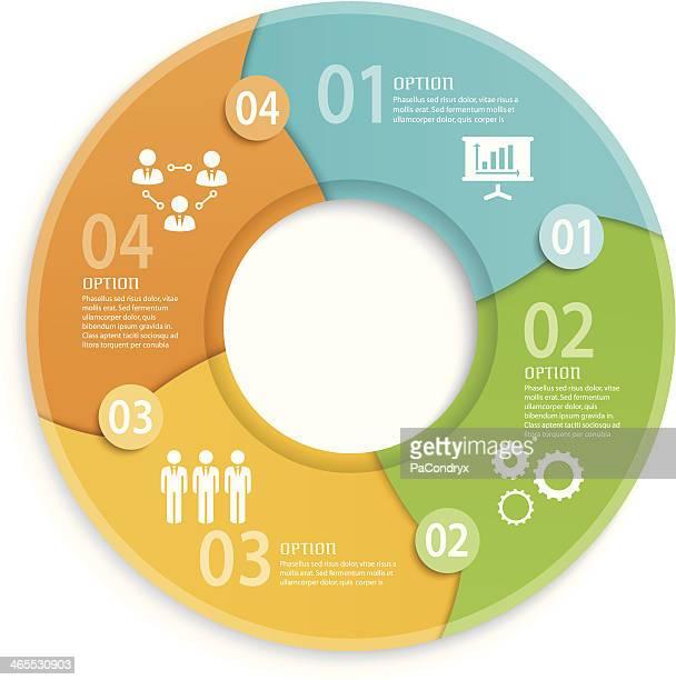bildbanksillustrationer, clip art samt tecknat material och ikoner med round business infographic - round four