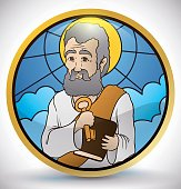 Round Button in Stained Glass Style with Saint Peter Image