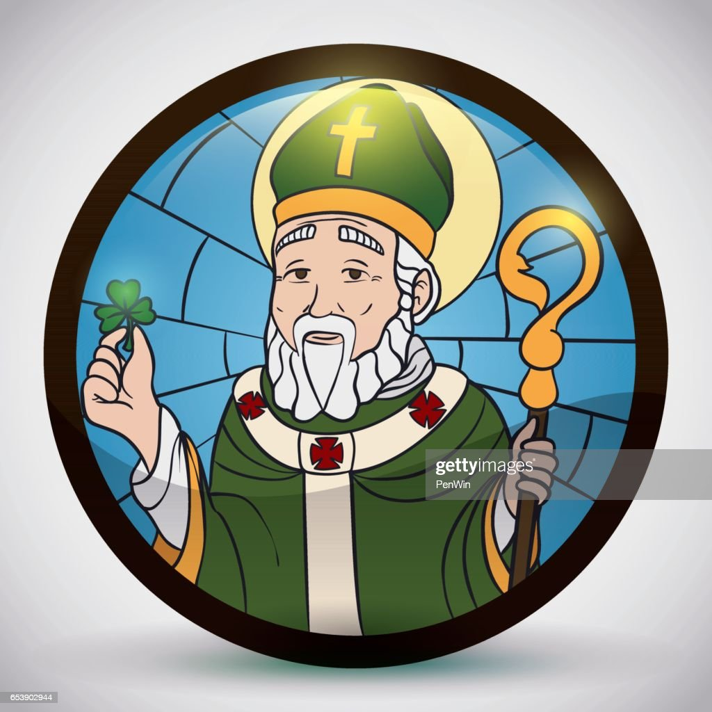 Round Button like Stained Glass with Saint Patrick's Image
