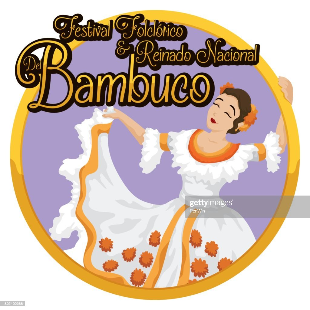 Round Button with Woman Dancing Bambuco and Celebrating Colombian Festival