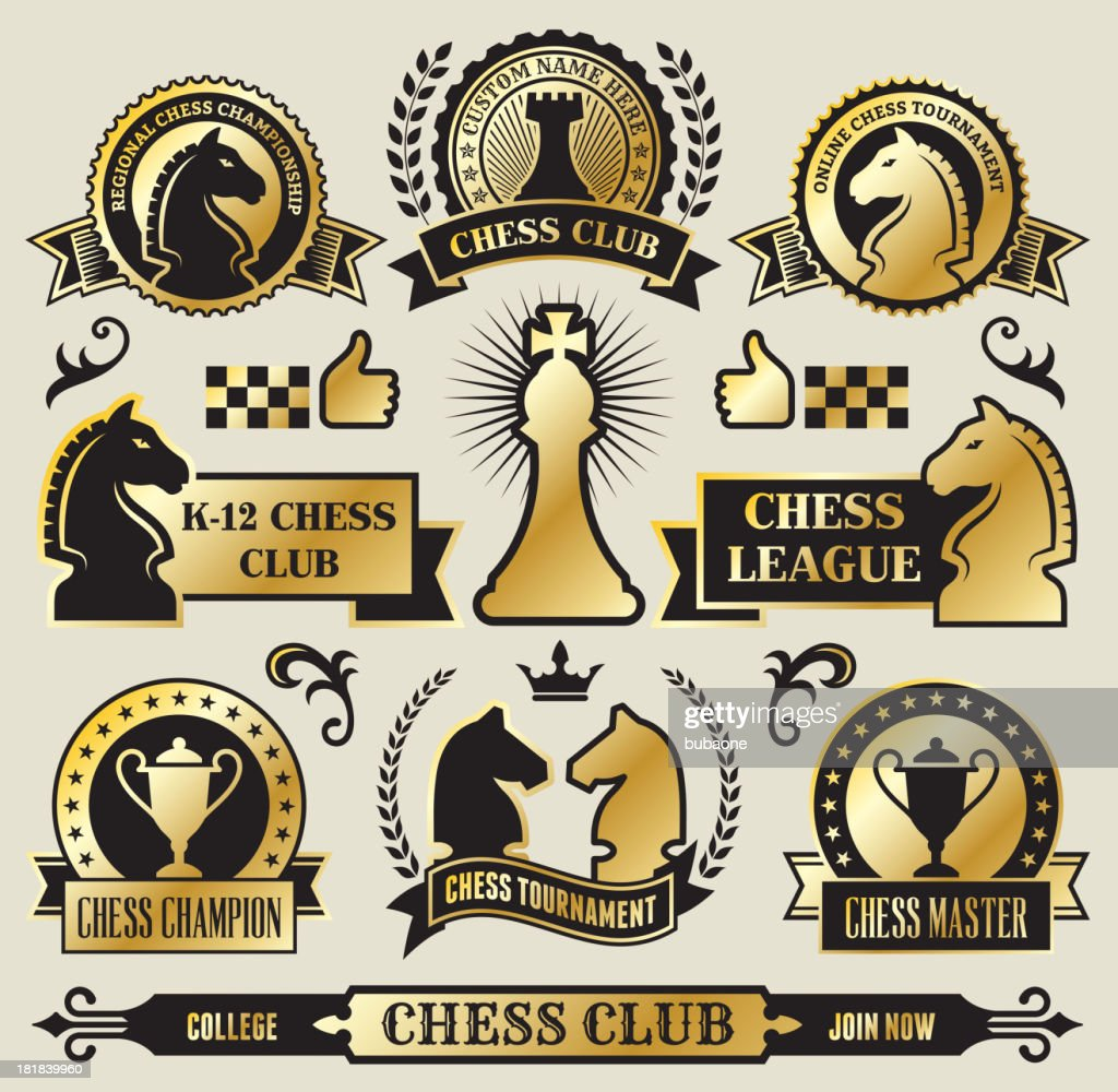 Round Chess Badges on Black and Gold